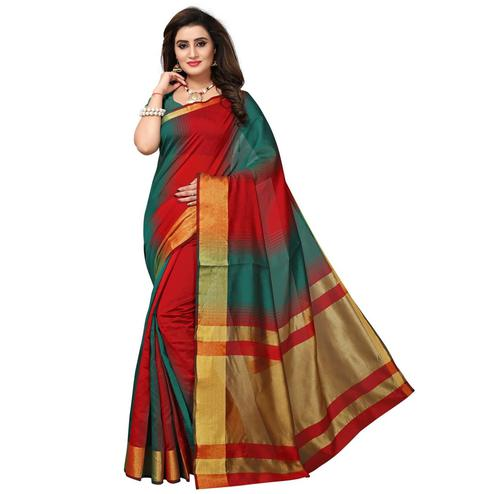 Pleasant Teal Green - Red Colored Festive Wear Woven Tussar Silk Saree