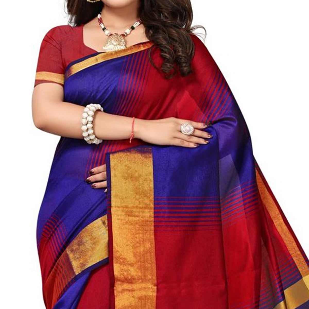 Opulent Red - Blue Colored Festive Wear Woven Tussar Silk Saree