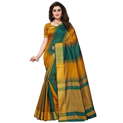 Energetic Yellow - Green Colored Festive Wear Woven Tussar Silk Saree