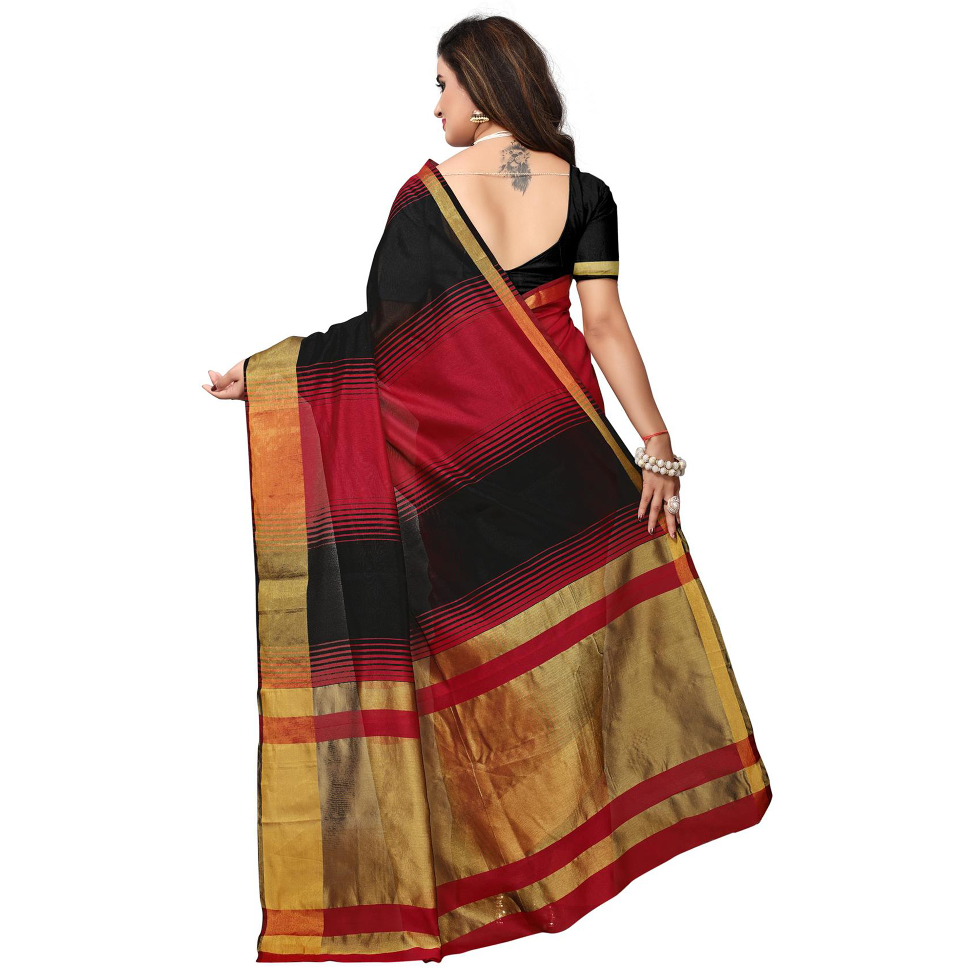 Glowing Black - Red Colored Festive Wear Woven Tussar Silk Saree
