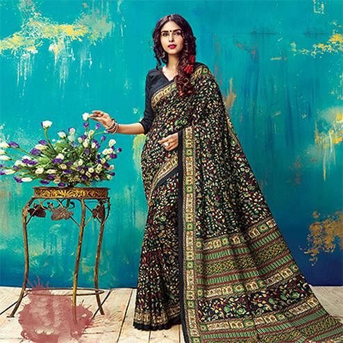 Arresting Black Pashmina Silk Printed Saree