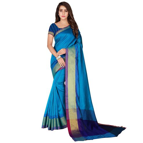 Unique Sky Blue Colored Festive Wear Woven Tussar Silk Saree