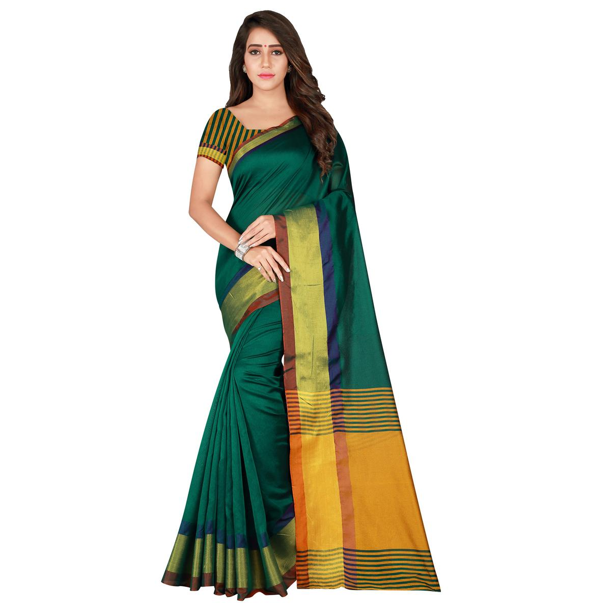 Magnetic Green Colored Festive Wear Woven Tussar Silk Saree