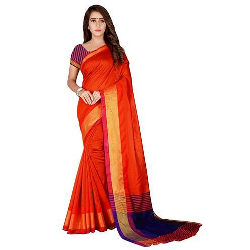 Hypnotic Orange Colored Festive Wear Woven Tussar Silk Saree