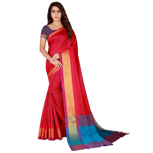 Elegant Red Colored Festive Wear Woven Tussar Silk Saree