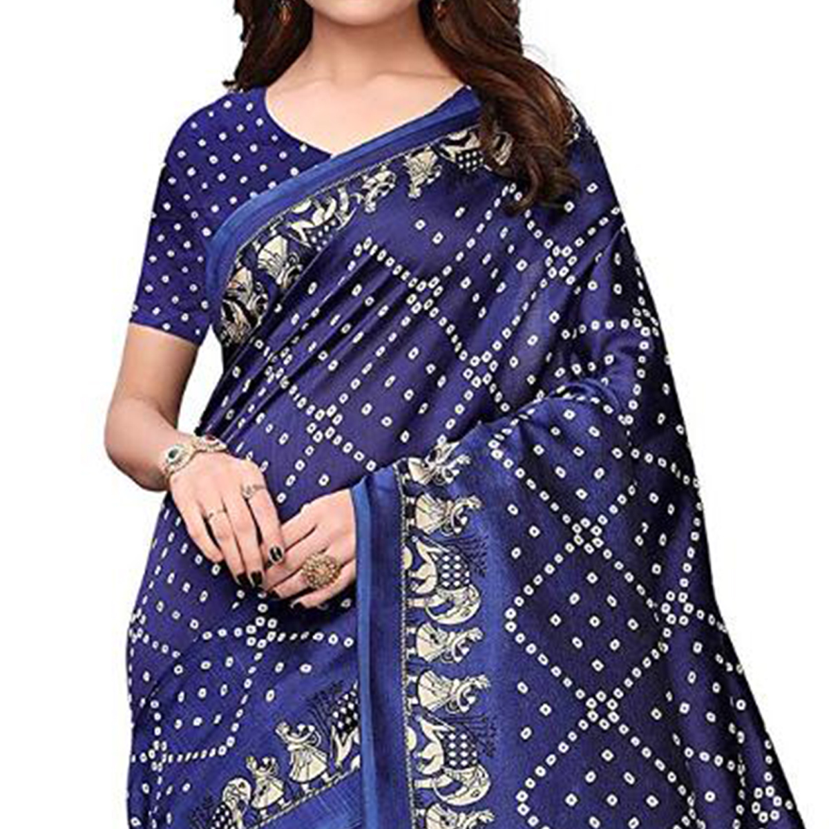 Elegant Navy Blue Colored Festive Wear Printed Art Silk Saree