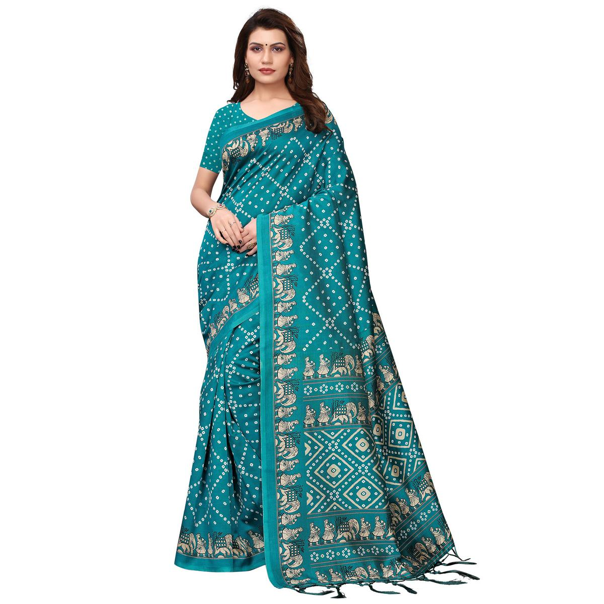 Beautiful Rama Green Colored Festive Wear Printed Art Silk Saree