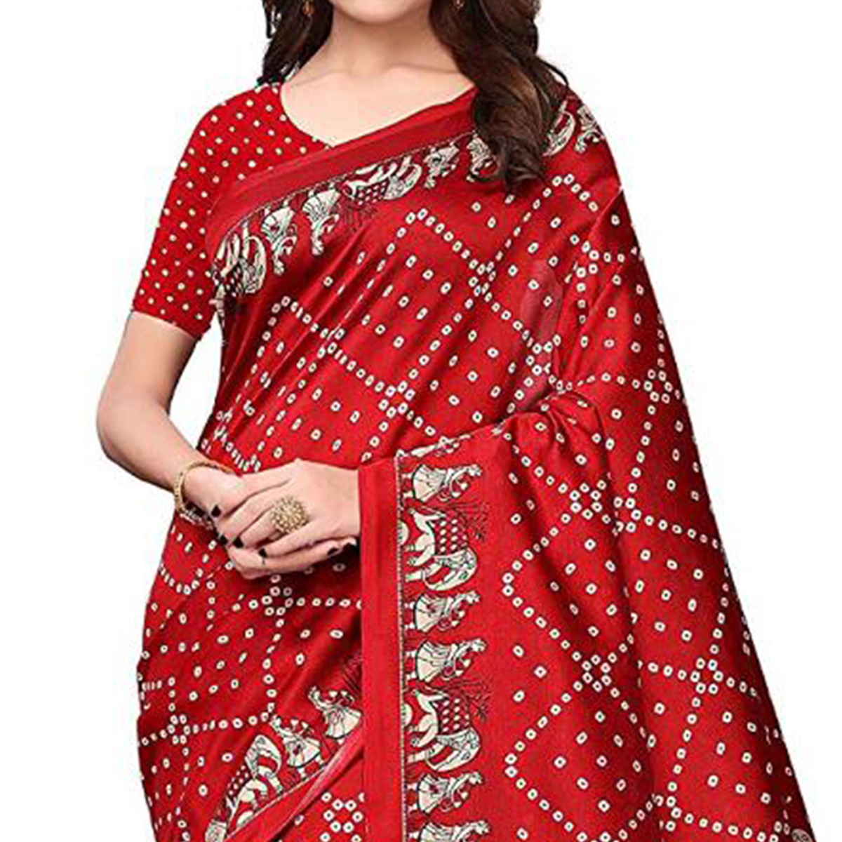 Glowing Red Colored Festive Wear Printed Art Silk Saree