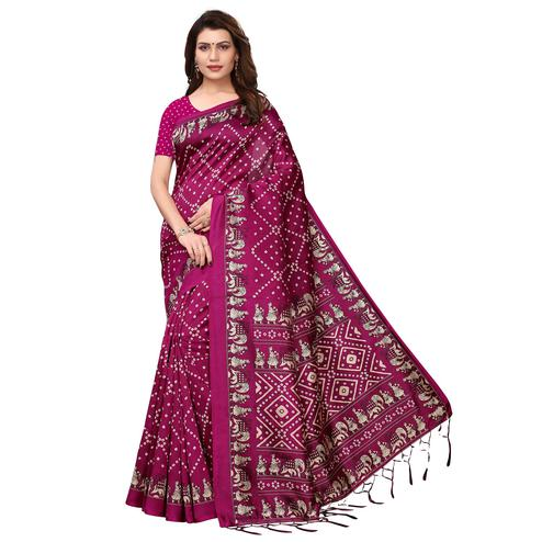 Attractive Pink Colored Festive Wear Printed Art Silk Saree