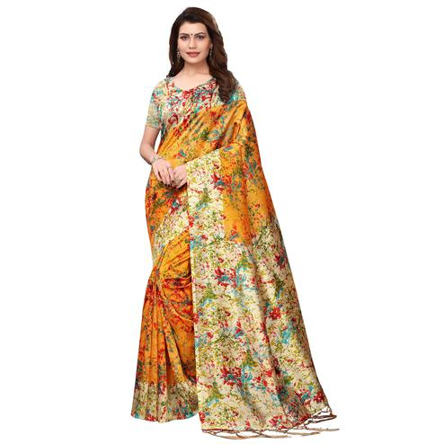 Gleaming Yellow Colored Festive Wear Printed Art Silk Saree