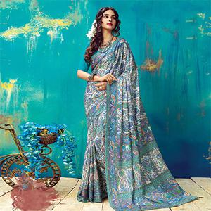 Charming Blue Pashmina Silk Printed Saree