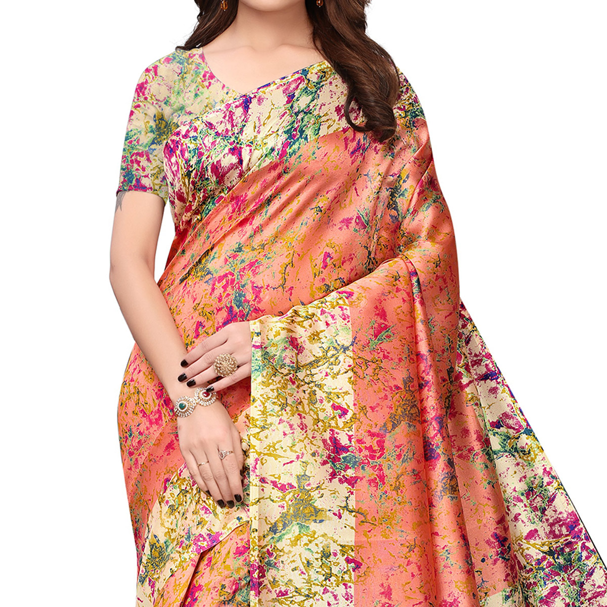 Demanding Peach Colored Festive Wear Printed Art Silk Saree
