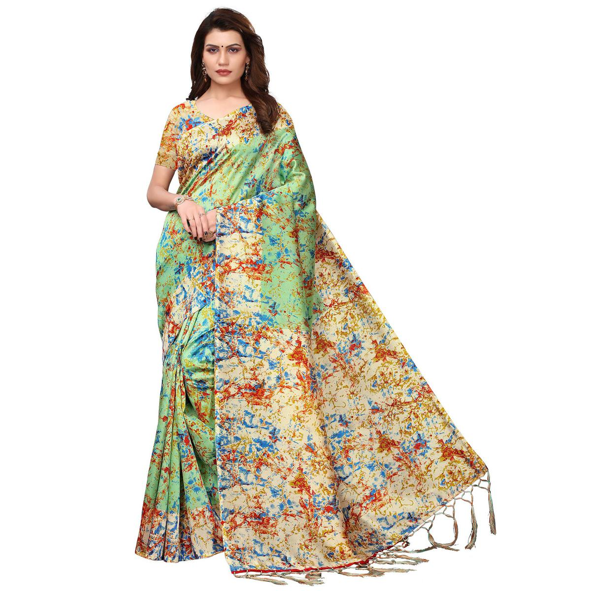 Appealing Light Green Colored Festive Wear Printed Art Silk Saree
