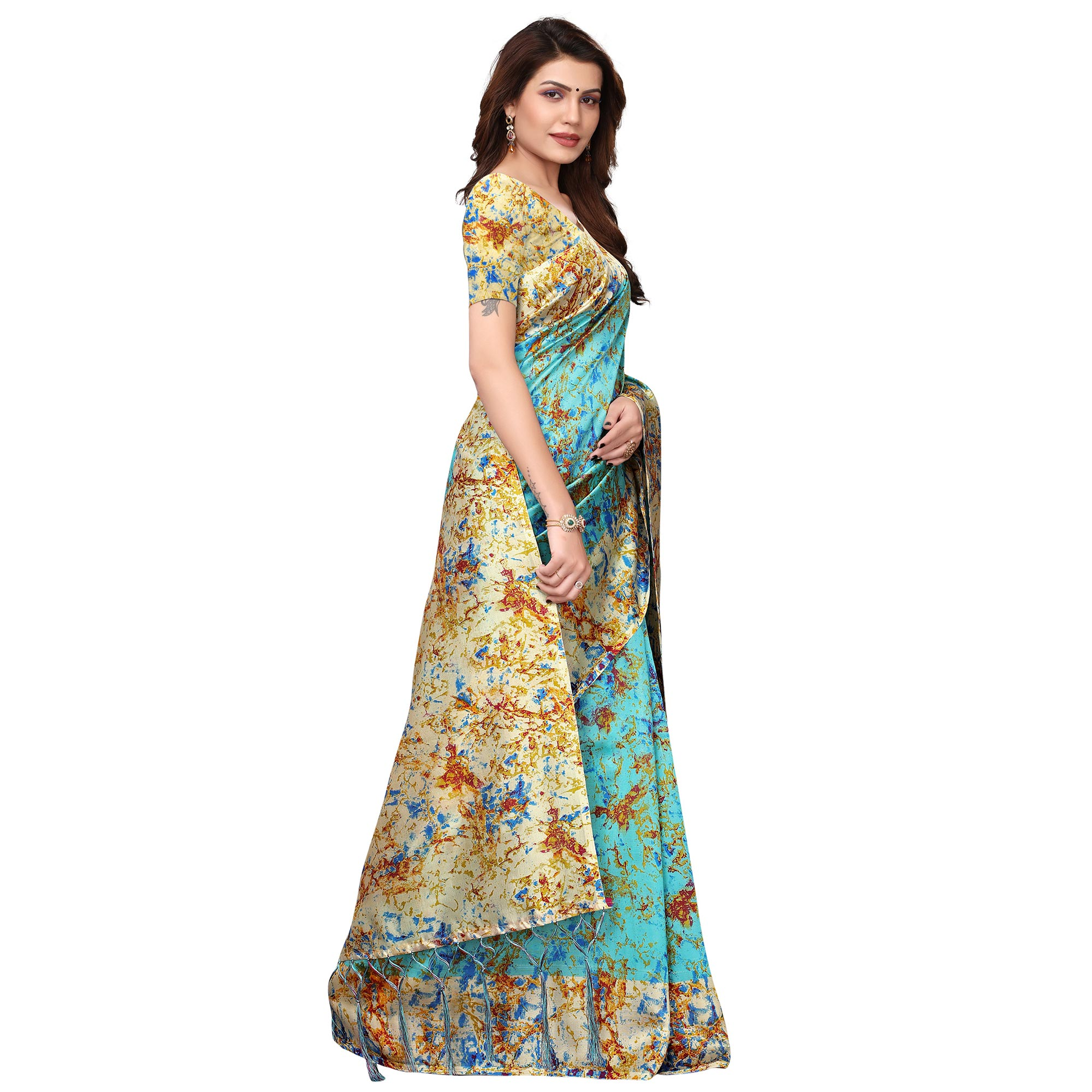Impressive Sky Blue Colored Festive Wear Printed Art Silk Saree
