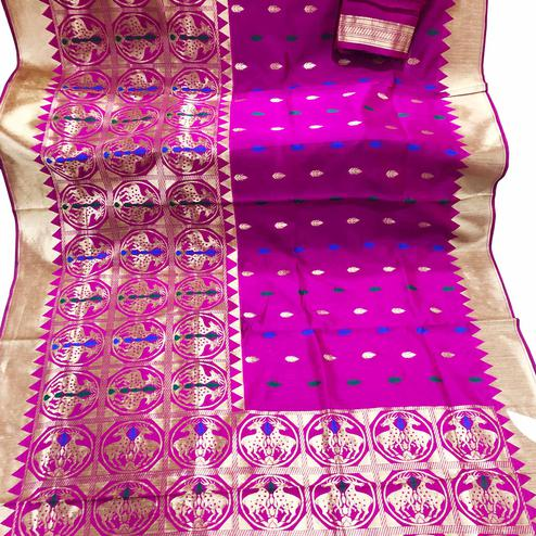 Innovative Rani Pink Colored Festive Wear Foil Printed Banarasi Silk Saree