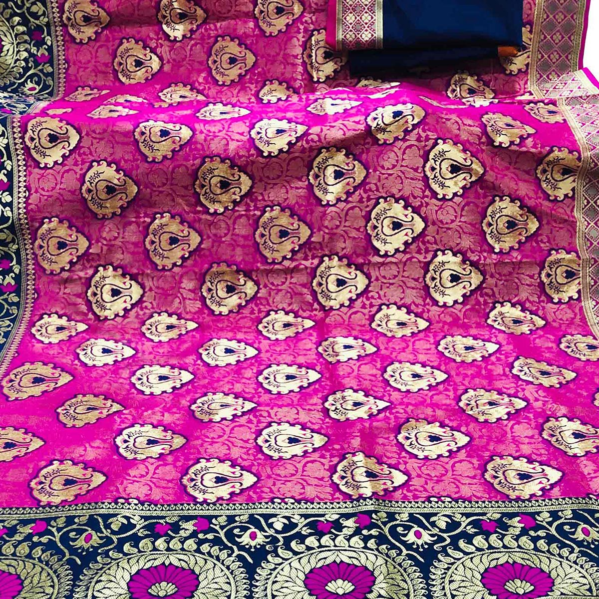 Flattering Magenta Colored Festive Wear Foil Printed Banarasi Silk Saree