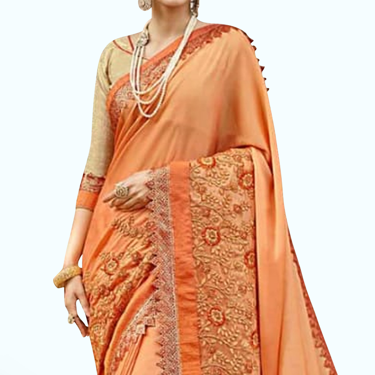 Radiant Light Orange Colored Party Wear Embroidered Georgette Saree