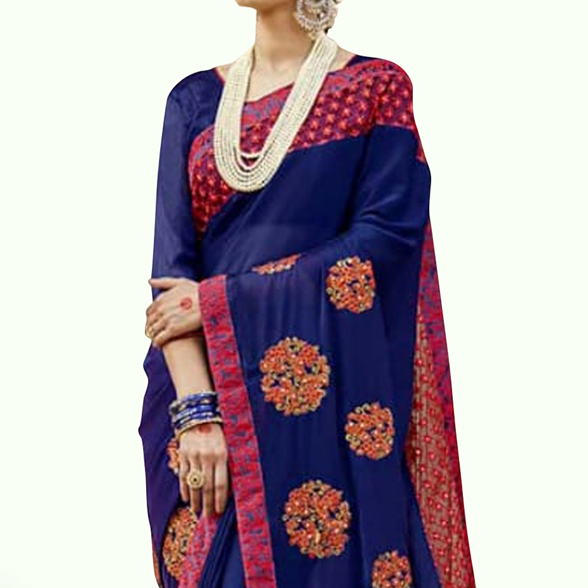 Pleasant Blue Colored Party Wear Embroidered Georgette Saree