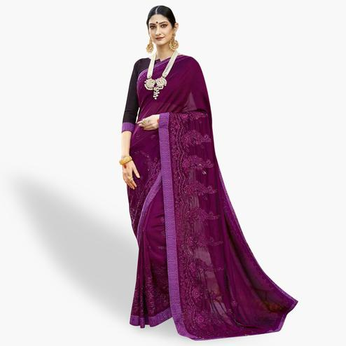 Energetic Purple Colored Party Wear Embroidered Georgette Saree