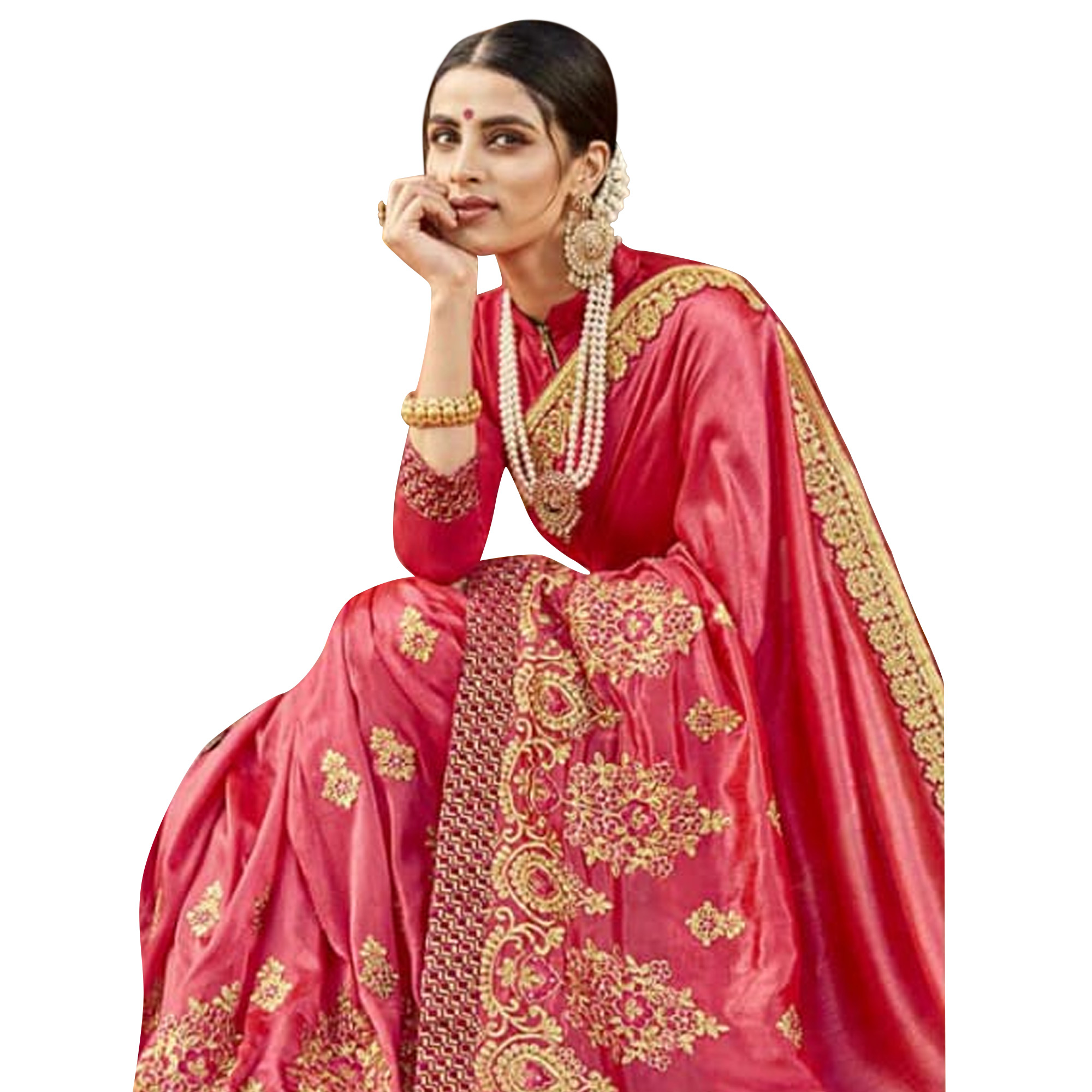 Glowing Pink Colored Party Wear Embroidered Georgette Saree