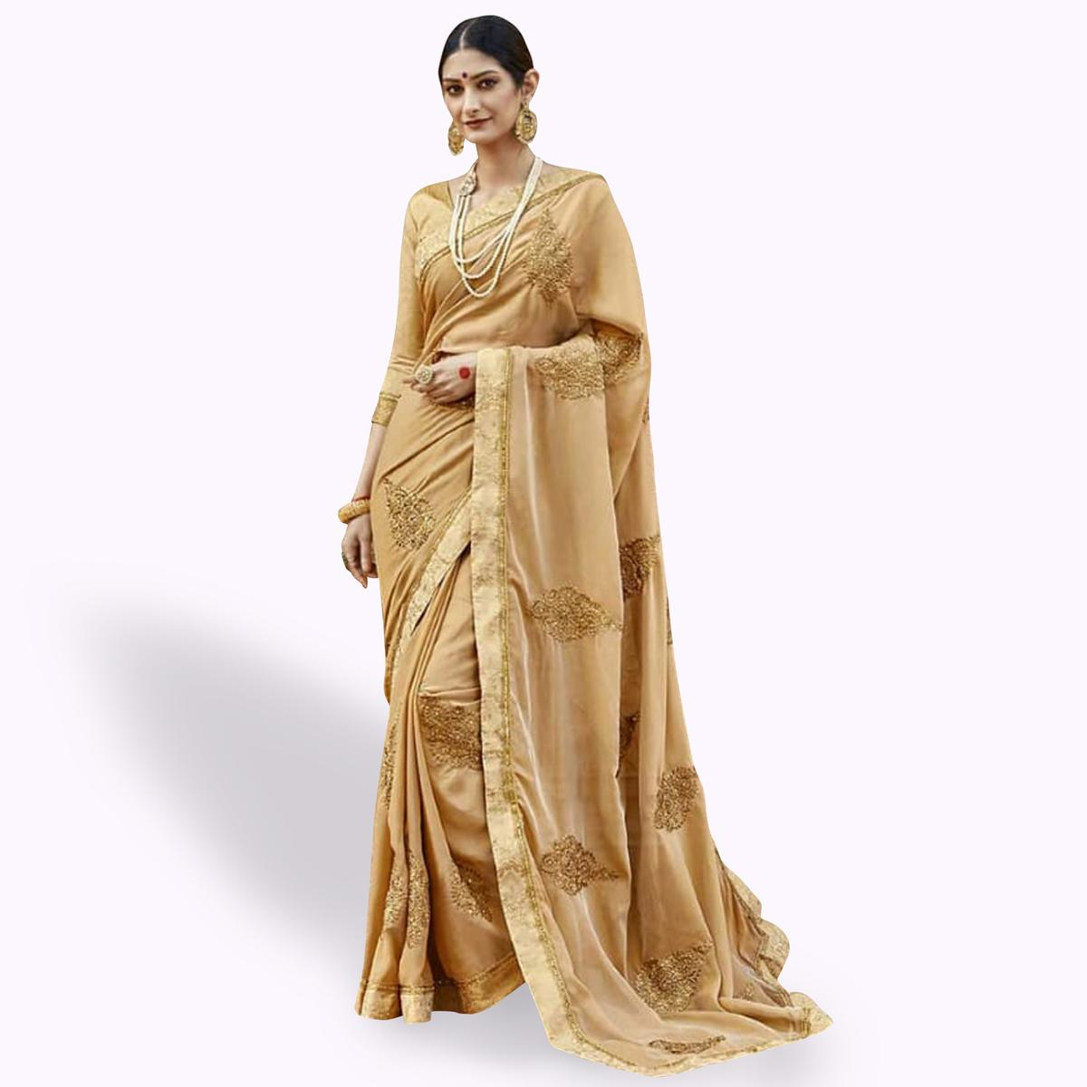 Gleaming Beige Colored Party Wear Embroidered Georgette Saree