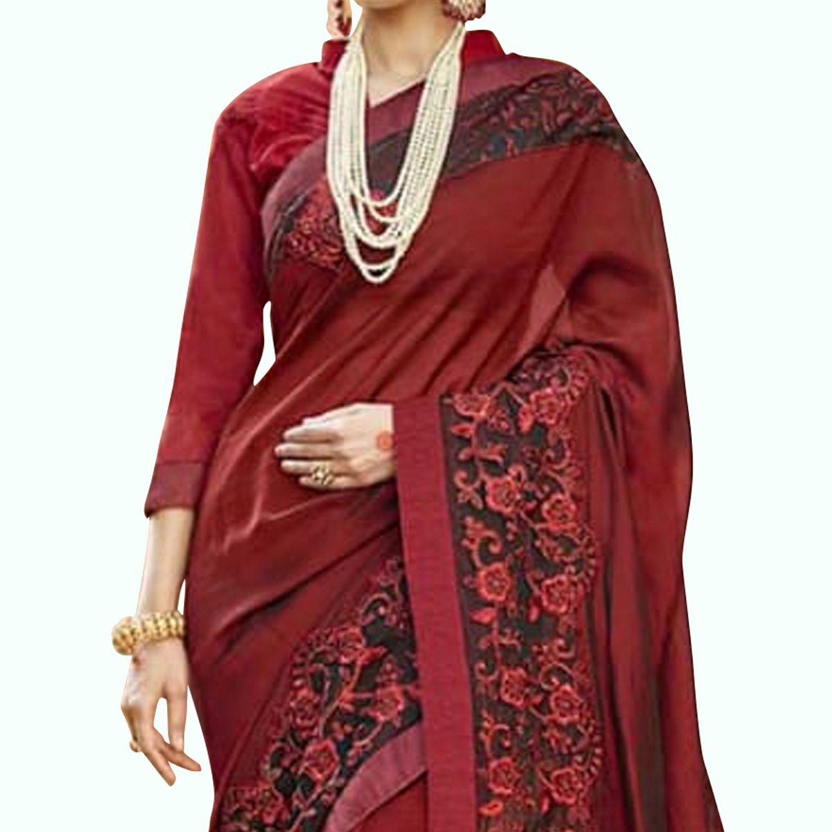 Mesmeric Maroon Colored Party Wear Embroidered Georgette Saree