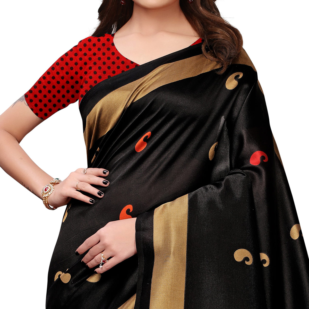 Adorable Black Colored Casual Printed Art Silk Saree