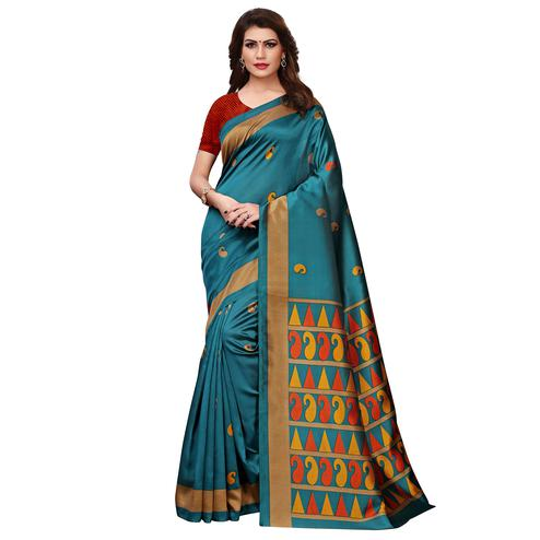 Amazing Teal Blue Colored Casual Printed Art Silk Saree