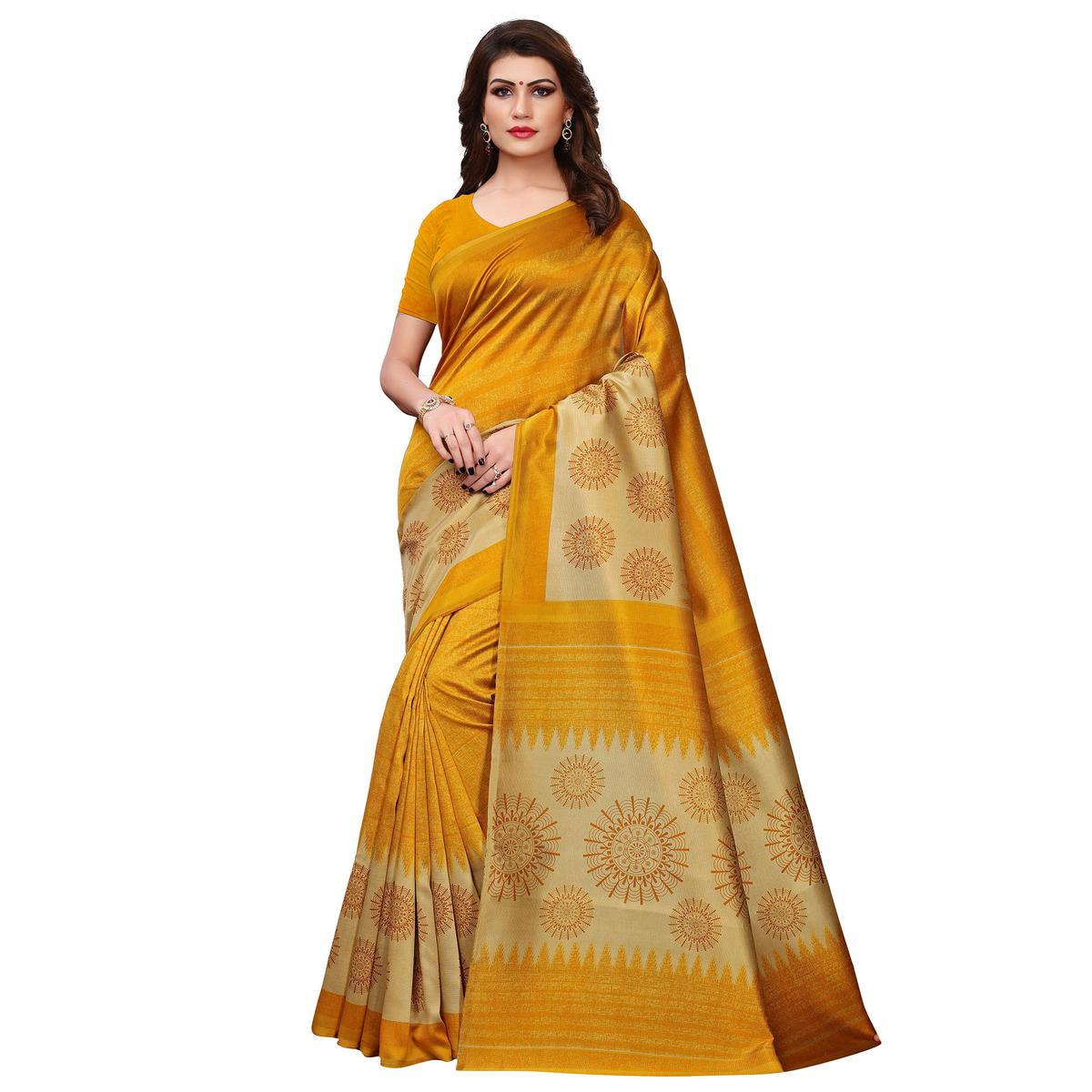 Attractive Mustard Yellow Colored Casual Printed Art Silk Saree