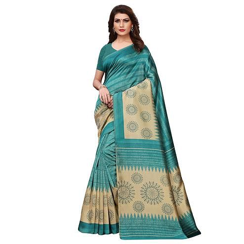 Beautiful Turquoise Green Colored Casual Printed Art Silk Saree
