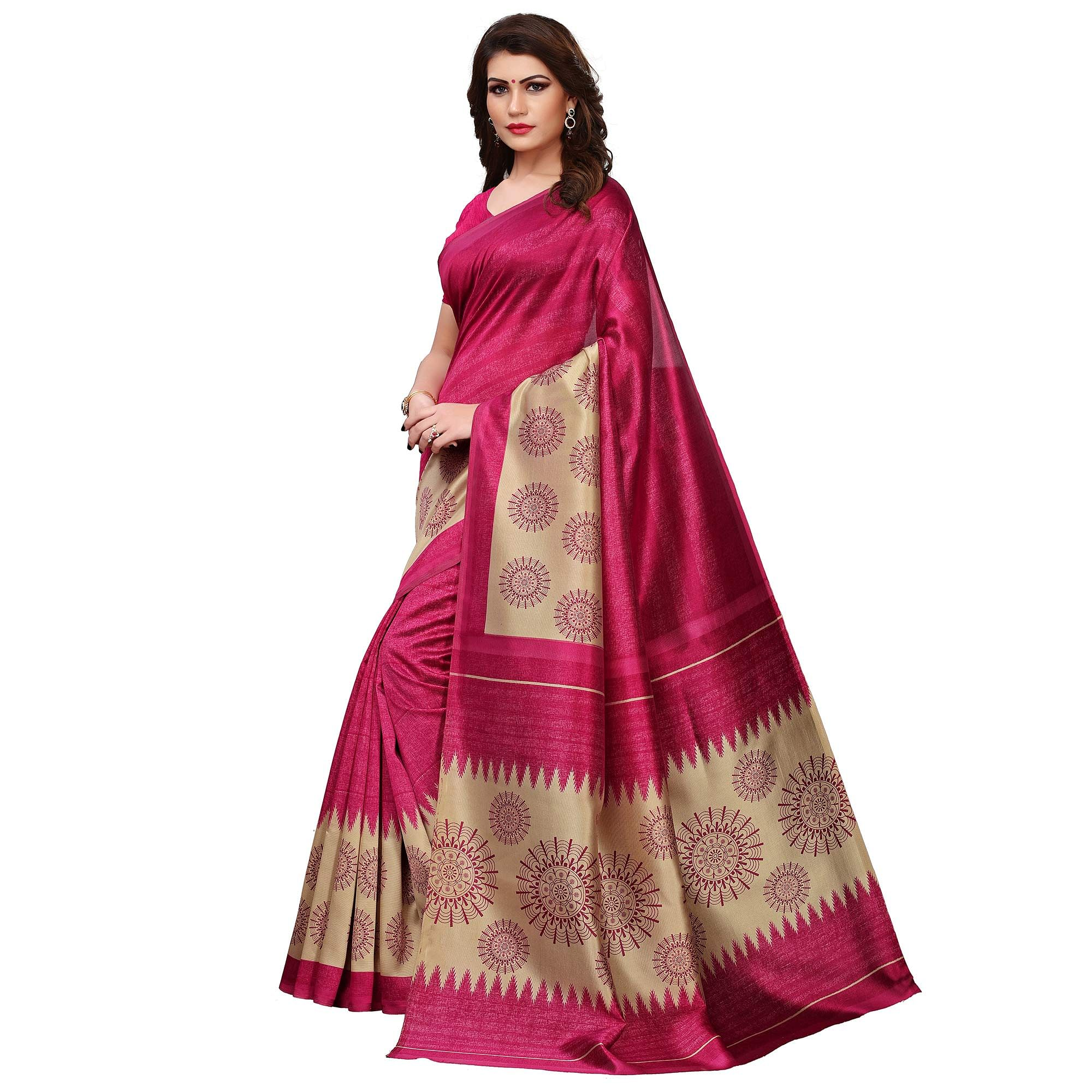 Blissful Magenta Pink Colored Casual Printed Art Silk Saree