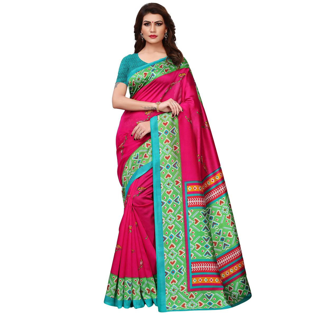 Charming Dark Pink Colored Casual Printed Art Silk Saree