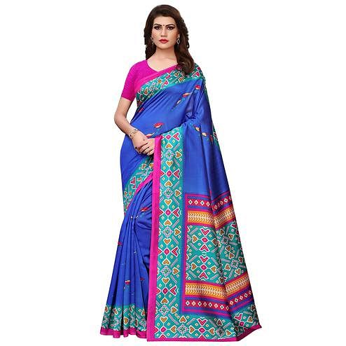 Classy Royal Blue Colored Casual Printed Art Silk Saree