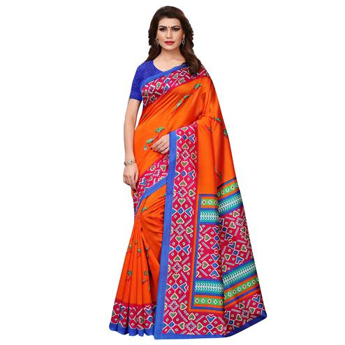 Delightful Orange Colored Casual Printed Art Silk Saree