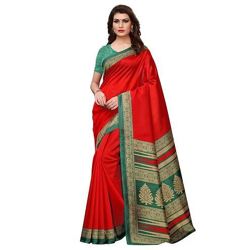 Engrossing Red Colored Casual Printed Art Silk Saree