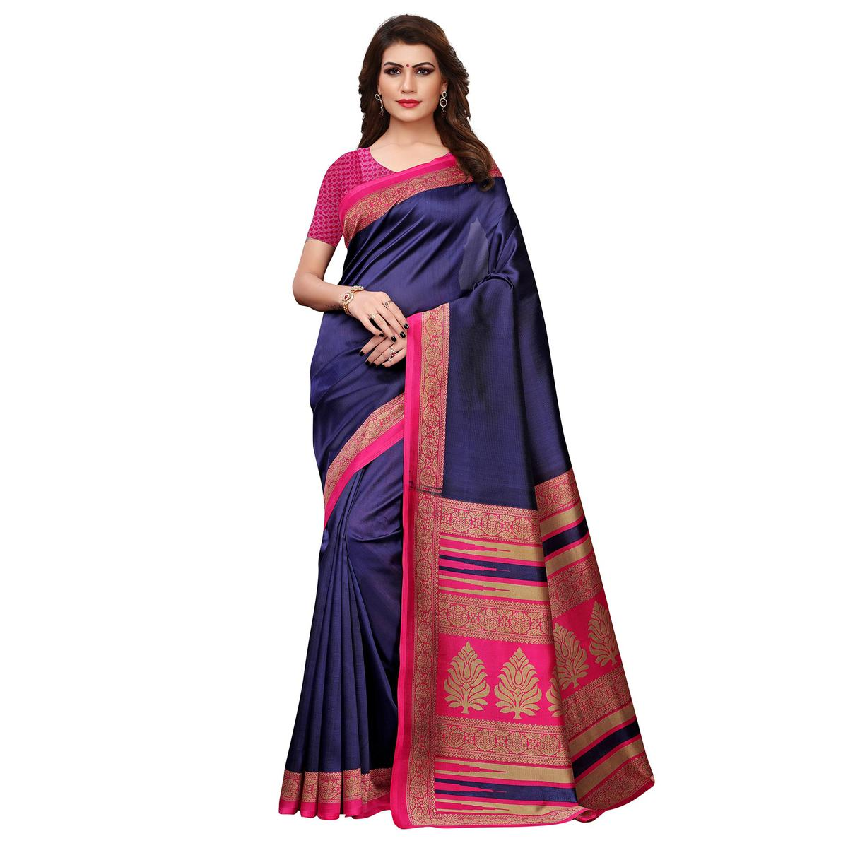 Eye-catching Blue Colored Casual Printed Art Silk Saree