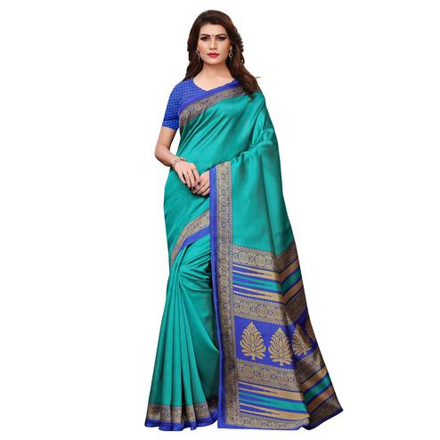 Fantastic Rama Green Colored Casual Printed Art Silk Saree