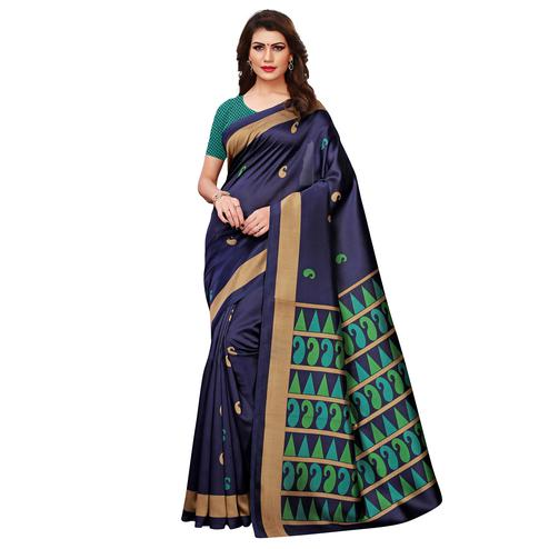 Glorious Navy Blue Colored Casual Printed Art Silk Saree