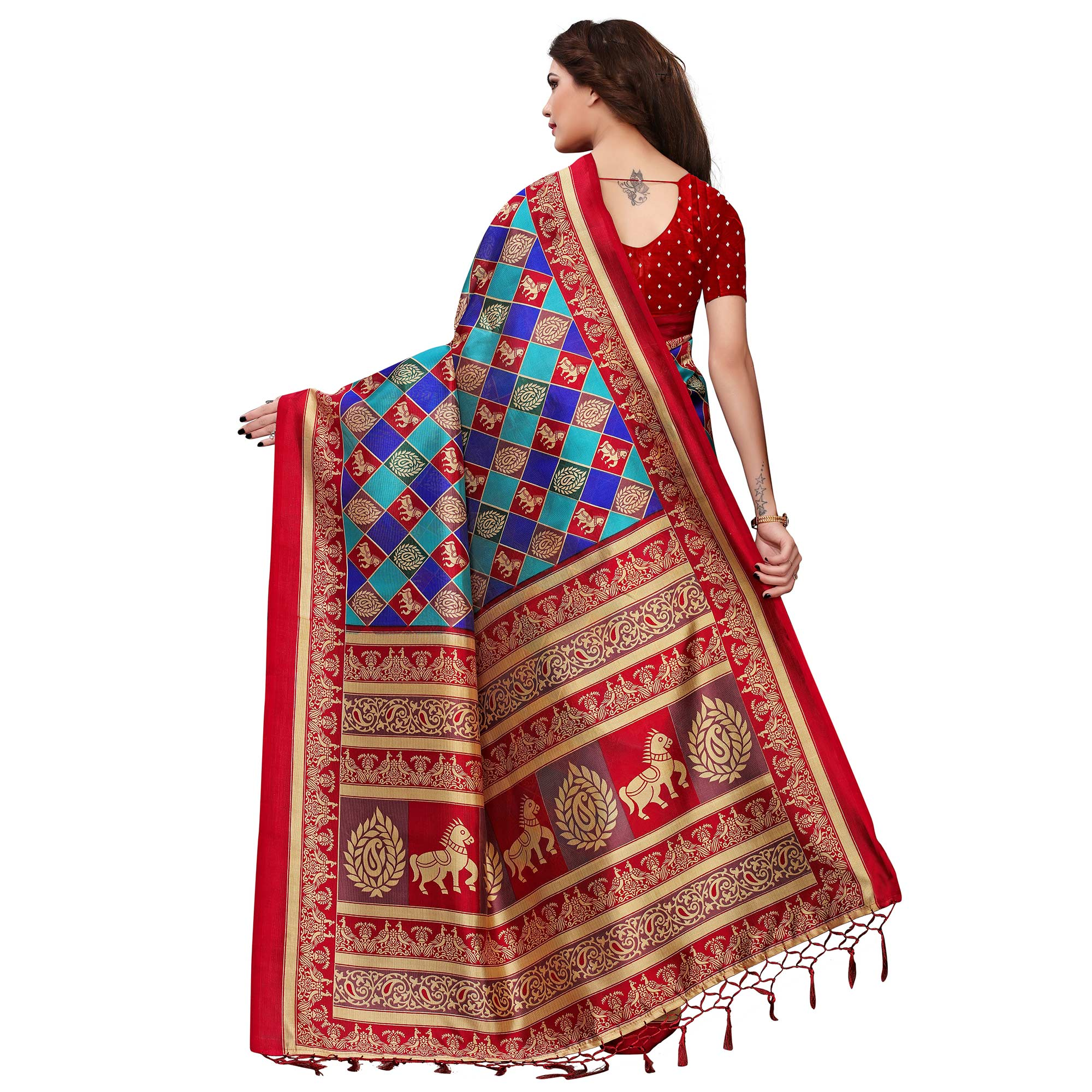 Ideal Blue-Red Colored Festive Wear Printed Mysore Silk Saree