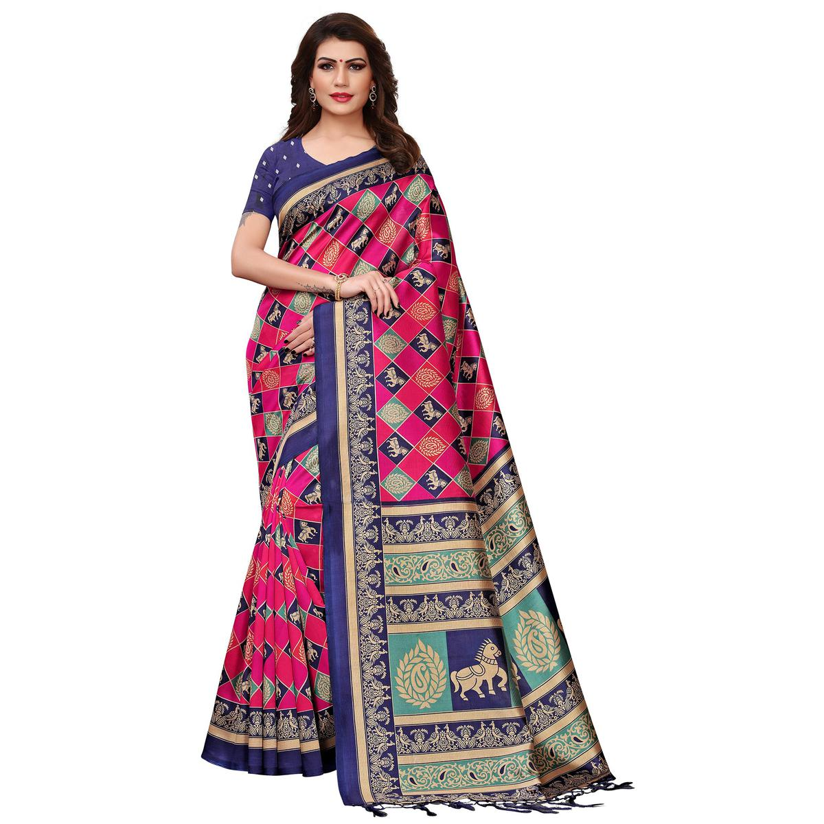 Imposing Pink-Blue Colored Festive Wear Printed Mysore Silk Saree
