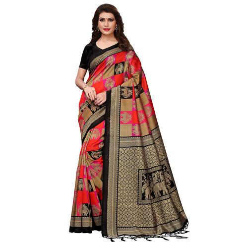 Lovely Red-Black Colored Festive Wear Printed Mysore Silk Saree