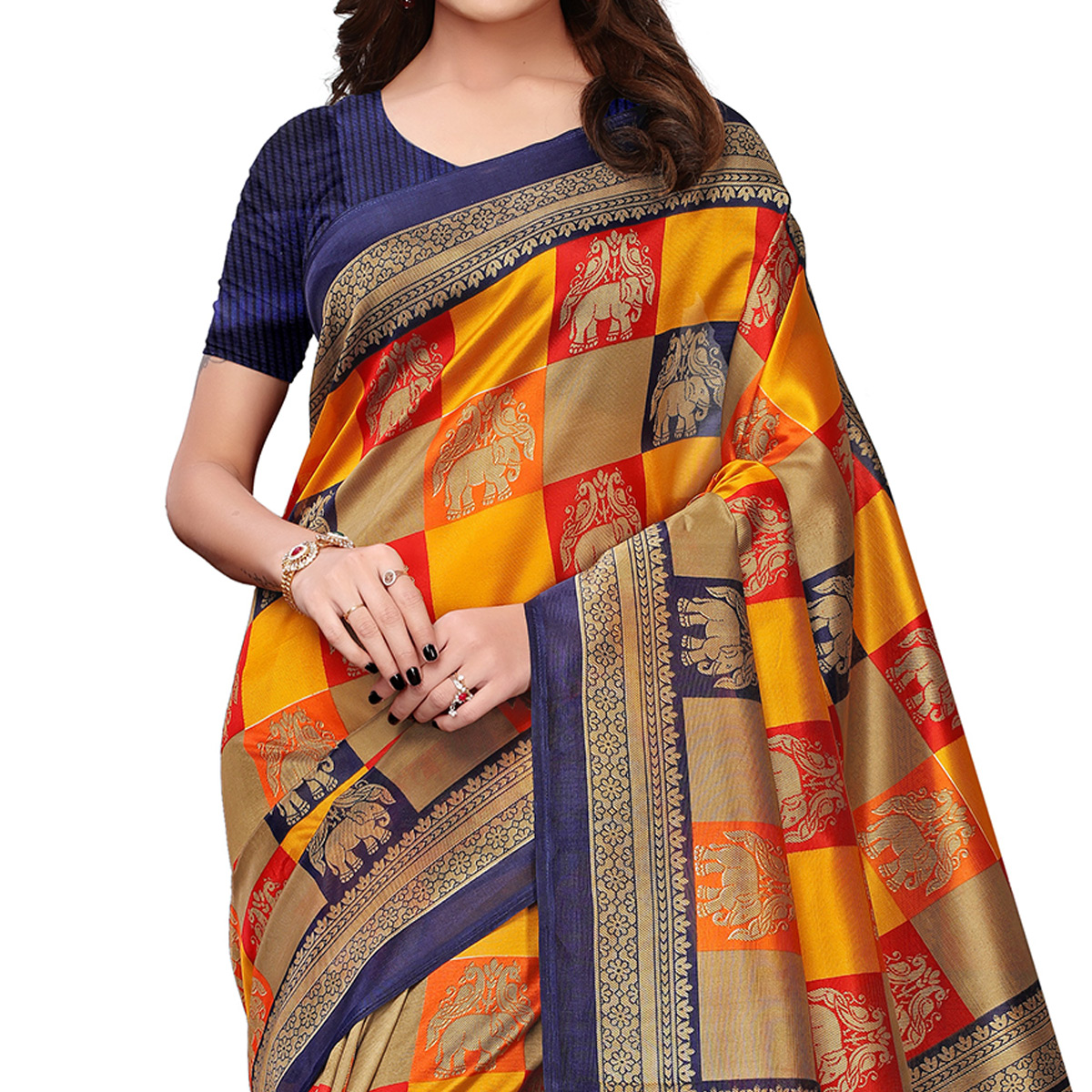 Majesty Yellow-Blue Colored Festive Wear Printed Mysore Silk Saree