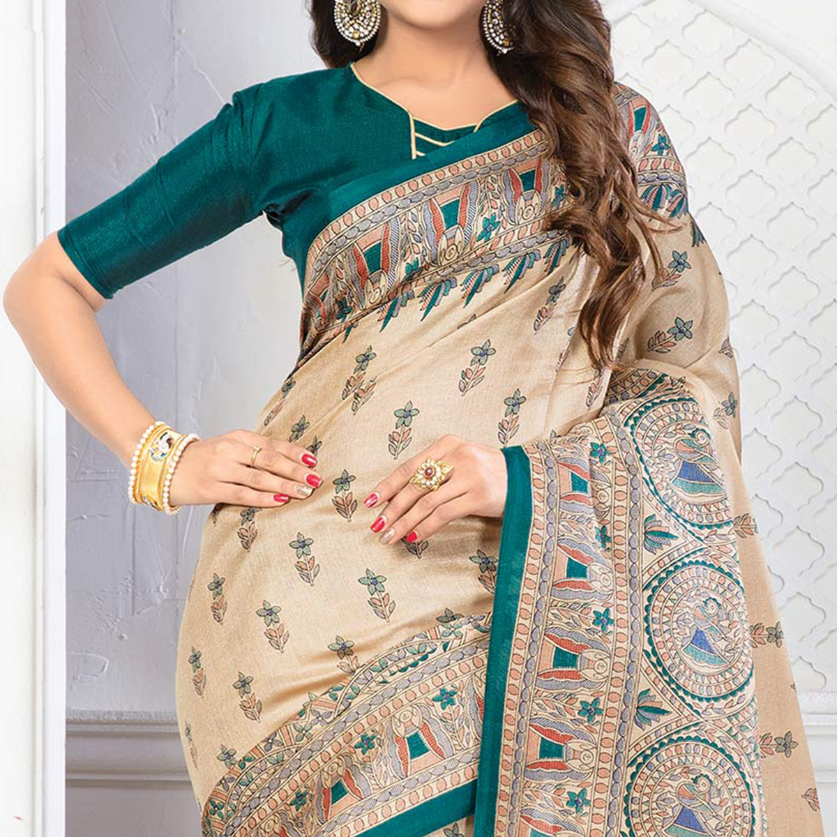 Beige - Green Casual Printed Bhagalpuri Silk Saree