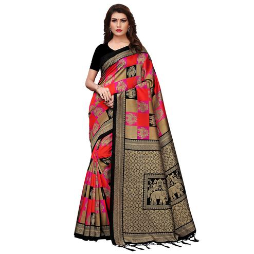 Marvellous Red-Black Colored Festive Wear Printed Mysore Silk Saree