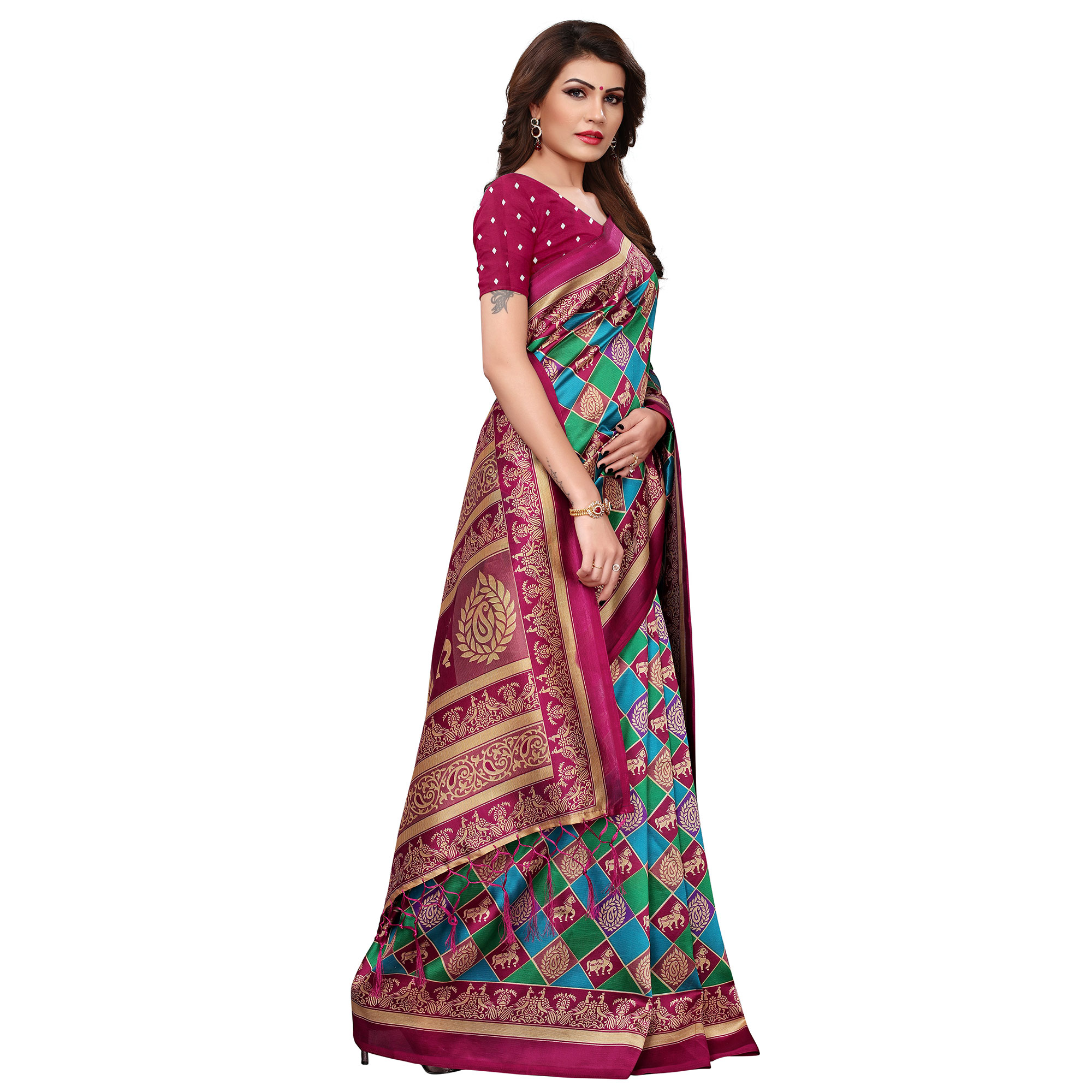 Mesmerising Blue-Pink Colored Festive Wear Printed Mysore Silk Saree