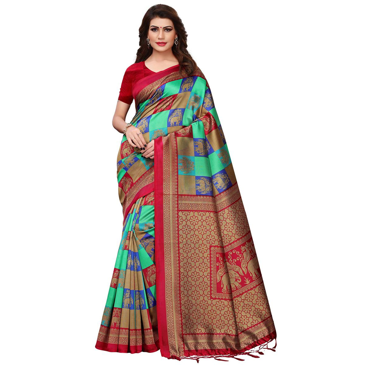 Pleasance Red-Turquoise Green Colored Festive Wear Printed Mysore Silk Saree