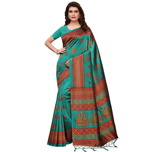 Preferable Rama Green Colored Festive Wear Printed Mysore Silk Saree