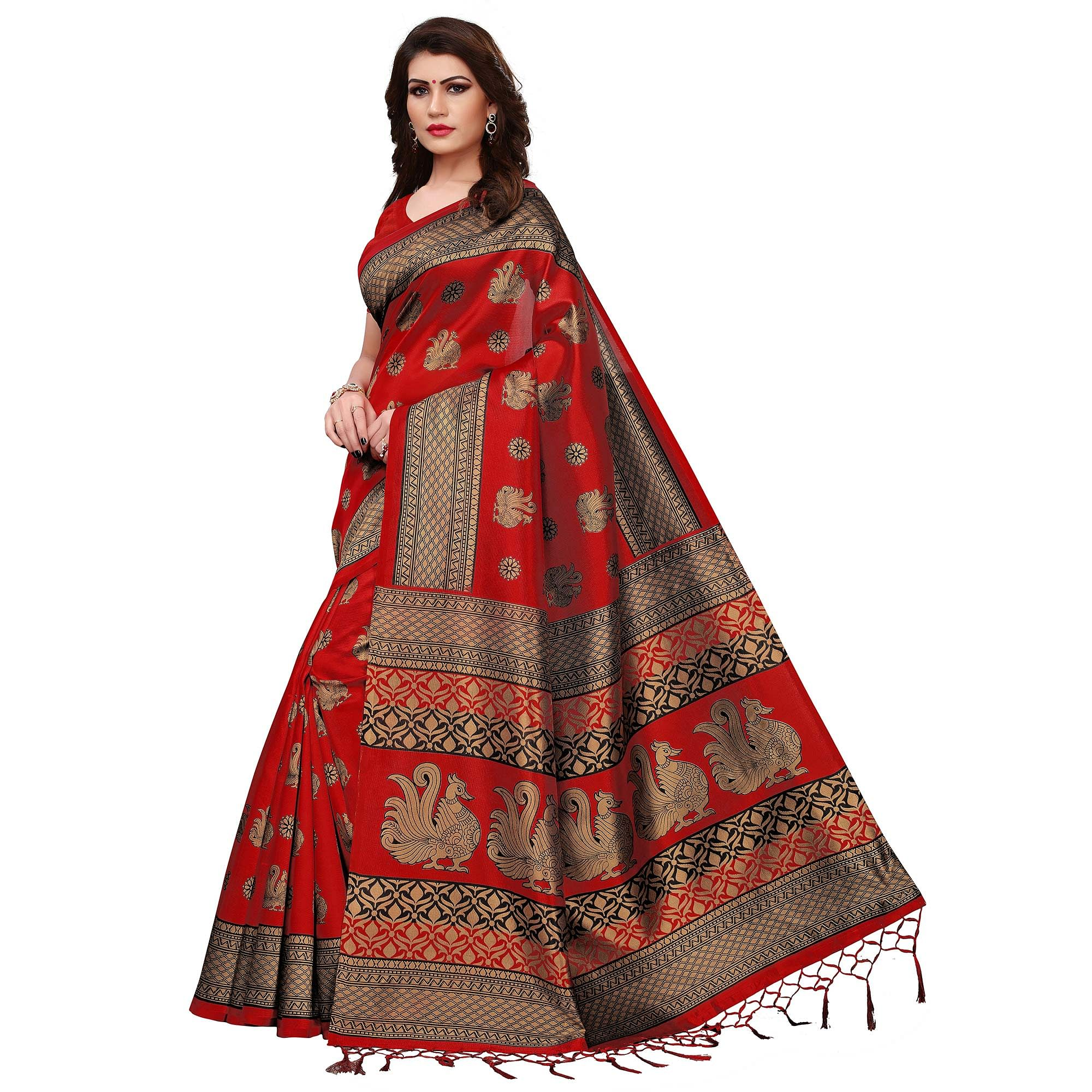 Pretty Red Colored Festive Wear Printed Mysore Silk Saree