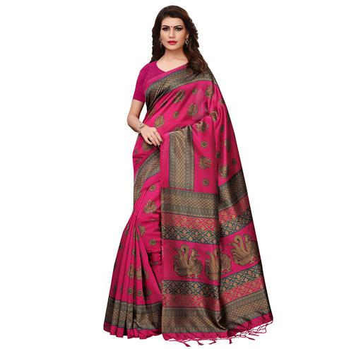 Ravishing Pink Colored Festive Wear Printed Mysore Silk Saree