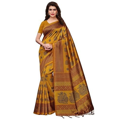 Staring Mustard Yellow Colored Festive Wear Printed Mysore Silk Saree